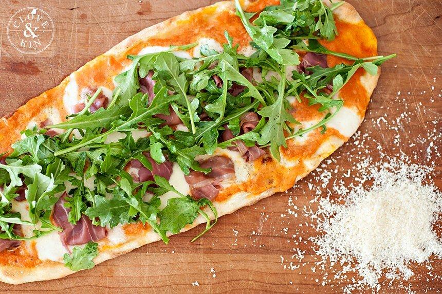 Julie's Crispy Prosciutto and Arugula Flatbread